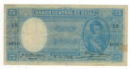 Chile 5 Pesos On Medio Condor, 1933, VF. - Chile