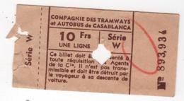 CASABLANCA Ticket Compagnie Des Tramways Et Autobus - Tram