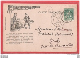 ANDERLECHT Rue De Veeweyde  Société Protectrice Des Animaux Oiseau Aveuglé Au Fer Rouge ! Obl MIDDELKERKE  1912 - Anderlecht