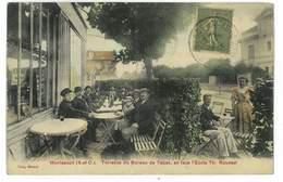 CPA 78 MONTESSON TERRASSE DU BUREAU DE TABAC EN FACE L'ECOLE TH. ROUSSEL - Montesson