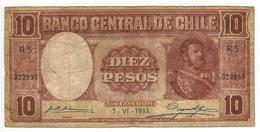 Chile 10 Pesos On Un Condor,  1933. F. - Chile