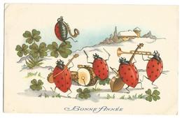 CP : Coccinelle Humanisée, Musicien, Saxophone, Trompette, Tambour, Violon, Trèfle - Insekten