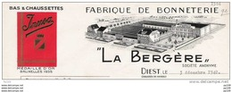 Ancienne Facture Fabrique Bonneterie La Bergère Chaussée De Hasselt à DIEST  - 1942 + Timbres Fisca - Unclassified