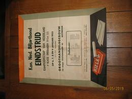 """ROTTERDAM  - Affiche Du Championnat De Billard  En 1955 - Publicité """" Rizla """" Papier à Cigarette (jm) - Affiches"""