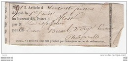 Précurseur Bulletin Récépissé (soixante Francs) Déposé Au Bureau De Poste D'ALOST AALST  (années 1800 ?) - Belgio
