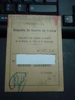 Carte Fédération Amputés De Guerre De France. Comité Du Souvenir - Militaria