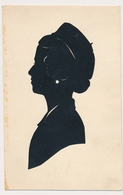 1935 Silhouette Woman W Cap Femme Avec Béret Original Vintage Hand Made Silouette Siluette  Old Card - Scherenschnitt - Silhouette