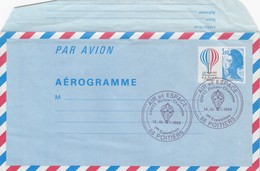 FRANCE - AEROGRAMME  3.10 BICENTENAIRE AIR ET ESPACE - CACHET UPPTT POITOU-CHARENTES 14-15.1.1984 POITIERS 86/ 6320 - Aerogrammi