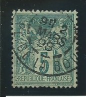 FRANCE:: Obl. N° YT 75e, Vert Foncé , T.II, Tb Centré, TB - 1876-1898 Sage (Tipo II)