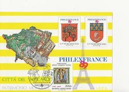 VATICAN -FEUILLET AVEC 2 VIGNETTES EDITE A L'OCCASION DE PHILEXFRANCE  89 AFFRANCHI TIMBRE N° 849 CAD ILLUSTRE - Vatican