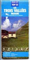 Lot De 4 Cartes Routières : Parc Et Massif Des écrins, Savoie Dauphiné, Les Trois Vallées, Hautes Alpes - Callejero