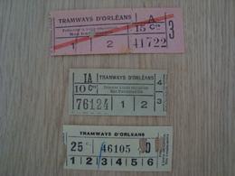 LOT DE 3 TICKETS ANCIENS DU TRAMWAYS D'ORLEANS - Europe