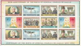 1990 Vanuatu De Gaulle WWII France Souvenir Sheet  MNH - Vanuatu (1980-...)