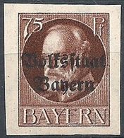 "Bayern, 1919 King Ludwig III, 75Pf Ovptd ""Bolstaat Bayern"" # Michel 135B - Scott 168 - Yvert 128B MLH - Bayern (Baviera)"