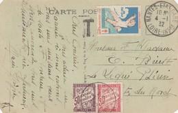 CARTE. 1932. NANTES ETAT GARE. TAXE 80c  /  2 - Postmark Collection (Covers)