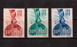 World Cup-1938, 3 Vignette(with Glue) , Football, Soccer, Fussball,calcio - 1938 – Frankreich