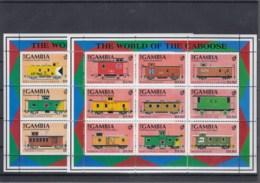 Gambia Michel Cat.No. Mnh/** Sheet 1210/1236 + Sheet 126/128 Trains - Gambia (1965-...)