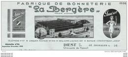 Facture Ancienne Oude Factuur DIEST Chaussée De Hasselt Fabrique De Bonneterie La Bergère + Fiscal - Unclassified