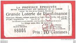 14-18 Loterie De Bienfaisance  Mai 1917  Rue De La Charité, 56  à Bruxelles  ETTERBEEK - Billets De Loterie