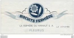 Ancienne Facture : FLEURUS - Biscuit Fermière - Illustration + Timbre Fiscal - Belgique