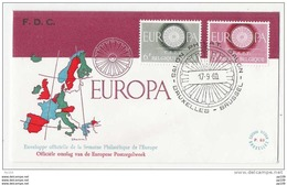 FDC EUROPA  Belgium TP 1150 & 1151 Oblitération 1er Jour : 17/9/1960 - Bruxelles  Salon Philatélique De L'Europe - FDC