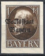 "Bayern, 1919 King Ludwig III, 1M Ovptd ""Bolstaat Bayern"" # Michel 128B - Scott 170 - Yvert 130B  MLH - Bayern (Baviera)"