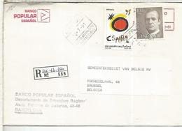 BARCELONA SUCURSAL AEROPUERTO CC CERTIFICADA A BELGICA SELLOS BASICA  MIRO - 1931-Hoy: 2ª República - ... Juan Carlos I