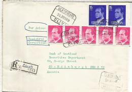 OLIVA VALENCIA CC CERTIFICADA A REINO UNIDO SELLOS BASICA - 1931-Hoy: 2ª República - ... Juan Carlos I