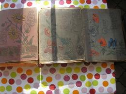 3 Viels Albums De Cartes Postales Dont Les Couvertures Et Reliures Abimées Pouvant Contenir Eniron 500 Cartes Chacun - Matériel