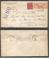 USA Airmails. 1936 (July) Wendover, Utah - France, Courbevoi (19 July) Air Fkd Envelope. - Unclassified