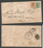 FINLAND. 1892 (22 Dec) Knopio - USA, California, Monterrey (14 Jan, 1893) Fkd Env 25 Per Rate, Cds. VF Blue Cds. Via St. - Finland