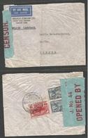 SIAM. 1943. Bkk-1 - Sweden, Seffle. Fkd Reverse Env + J - 44 Bluis Censor Label. WWII. - Siam