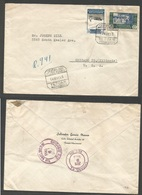 MARRUECOS. 1955 (14 May) Tetuan - USA, Chicago (9 June). Registered Multifkd Envelope. Tarifa 1pla 80c. - Morocco (1956-...)