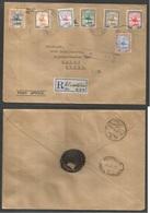 SUDAN. 1946 (17 Oct) Khartoum - Sweden, Malmo. Via Shellal - Haifa And Cairo (22 Oct) Registered Multifkd Envelope + Man - Sudan (1954-...)