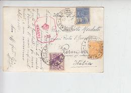 "BRASILE  1940 - Cartolina Per Italia - Timbro ""PASSED"" - Storia Postale"