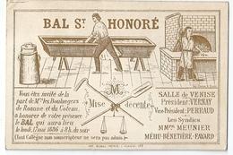 Carte D'Invitation Bal St Honoré Boulangers De Roanne Et Du Coteau 17 Mai 1886 Salle De Venise - Roanne