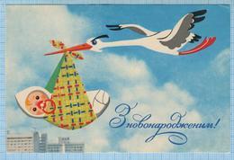 USSR / Post Card / Soviet Union / UKRAINE. With A Newborn. Baby. Stork. Artist Grinko 1972. - Birth