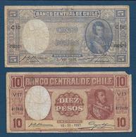 CHILI - 2 Billets 1935 Et 1937 - Chile