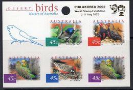 AUSTRALIA, 2001 PHILAKOREA 2002, DESERT BIRDS, NATURE, AUTOADHESIVE STAMPS, MNH - Neufs