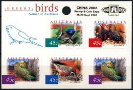 AUSTRALIA, 2001 CHINA 2002, DESERT BIRDS, NATURE, AUTOADHESIVE STAMPS, MNH - 2000-09 Elizabeth II