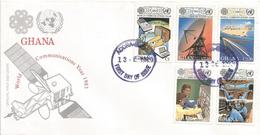 Ghana 1983 World Communication Fibre Cable Telephone Airtraffic Control Satellitte FDC Cover - Ghana (1957-...)