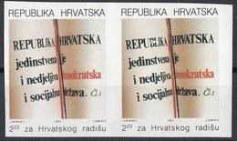 Croazia 1991 Sc. RA27 Costituzione - Constitution - IMPERFORATO - Hrvatska Croatia - Croazia