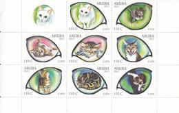 2012 Aruba Cats Chats Block Of 8 + Tab Complete MNH @ BELOW FACE - Curaçao, Antilles Neérlandaises, Aruba