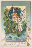 9AL1224 Carte Joyeux Noel Ange Avec Brillants   2 SCANS - Santa Claus