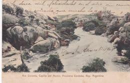 RIO DOLORES. CAPILLA DEL MONTE, PROVINCIA CORDOBA, ARGENTINA. CPA CIRCULEE 1909 A FEDERACIONES TIMBRE ARRACHE - BLEUP - Argentina