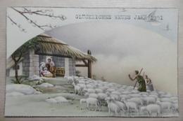 Nouvel An - Visite Des Bergers Avec Les Moutons à L'Enfant Jésus Dans La Crëche - New Year
