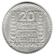 20 Francs Turin Argent 1933 Rameaux Longs - Francia