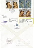 J) 1970 VATICAN CITY, ADAM BY MICHELANGO, UN EMBLEM, REGISTERED, MULTIPLE STAMPS, AIRMAIL, CIRCULATED COVER, FROM VATICA - Vatican