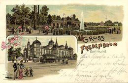 DORTMUND, Mehrbildkarte, Gasthaus Fredenbaum, Hauptgebäude, Garten-Anlagen (1899) Litho-AK - Dortmund