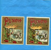 """2 Etiquettes De Rhum """"PUNCH"""" Illustrée Années 1892 Bel état - Vieux Papiers"""